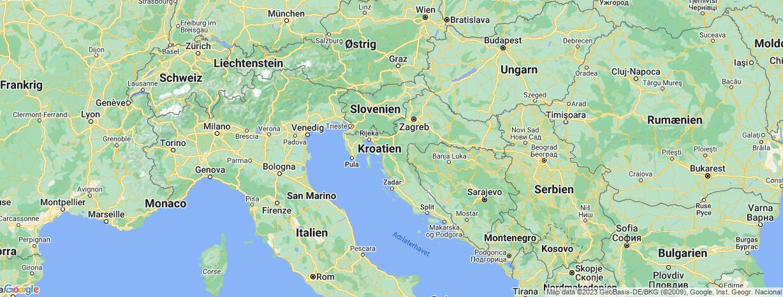 Kort over Kroatien