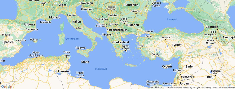 Kort over Grækenland