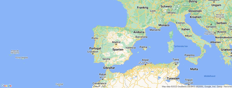Kort over Spanien